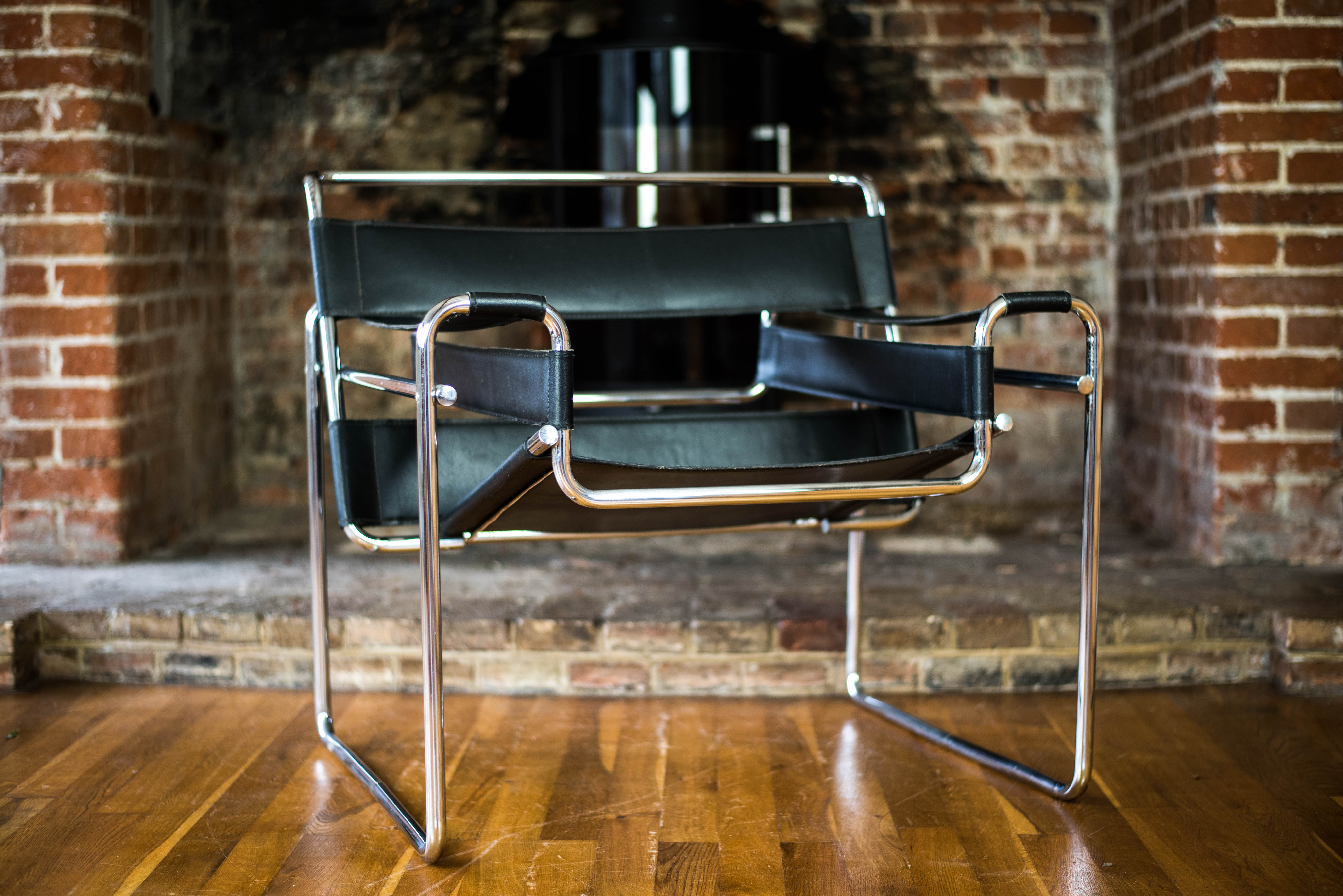 Wassily Chair after design by Marcel Breuer side front