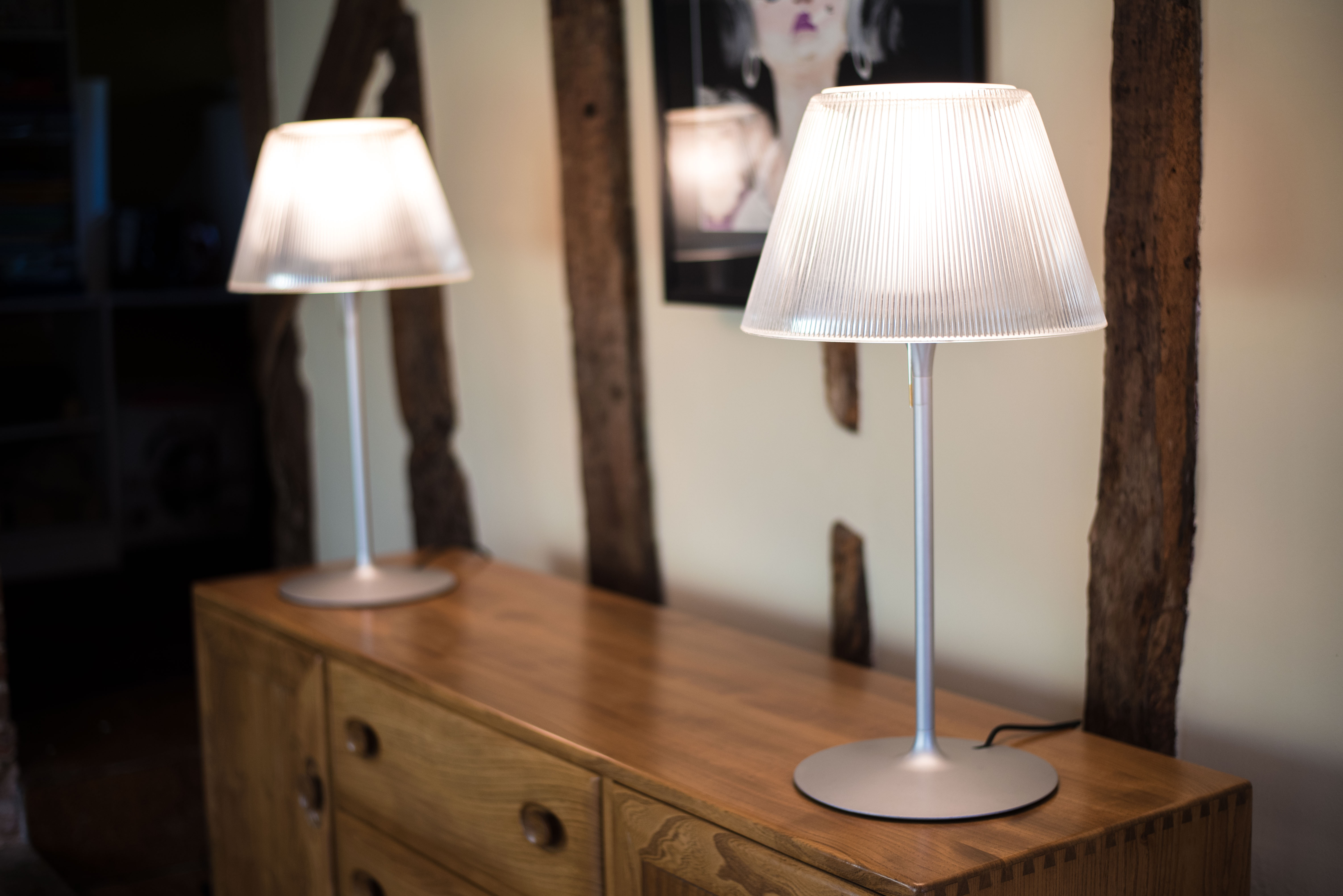 Pair of Philippe Starck Glass Table Lamps for Flos 'Romeo Moon T1' 7