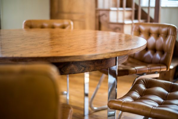 Italian Tan Leather Dining Chairs at table 1