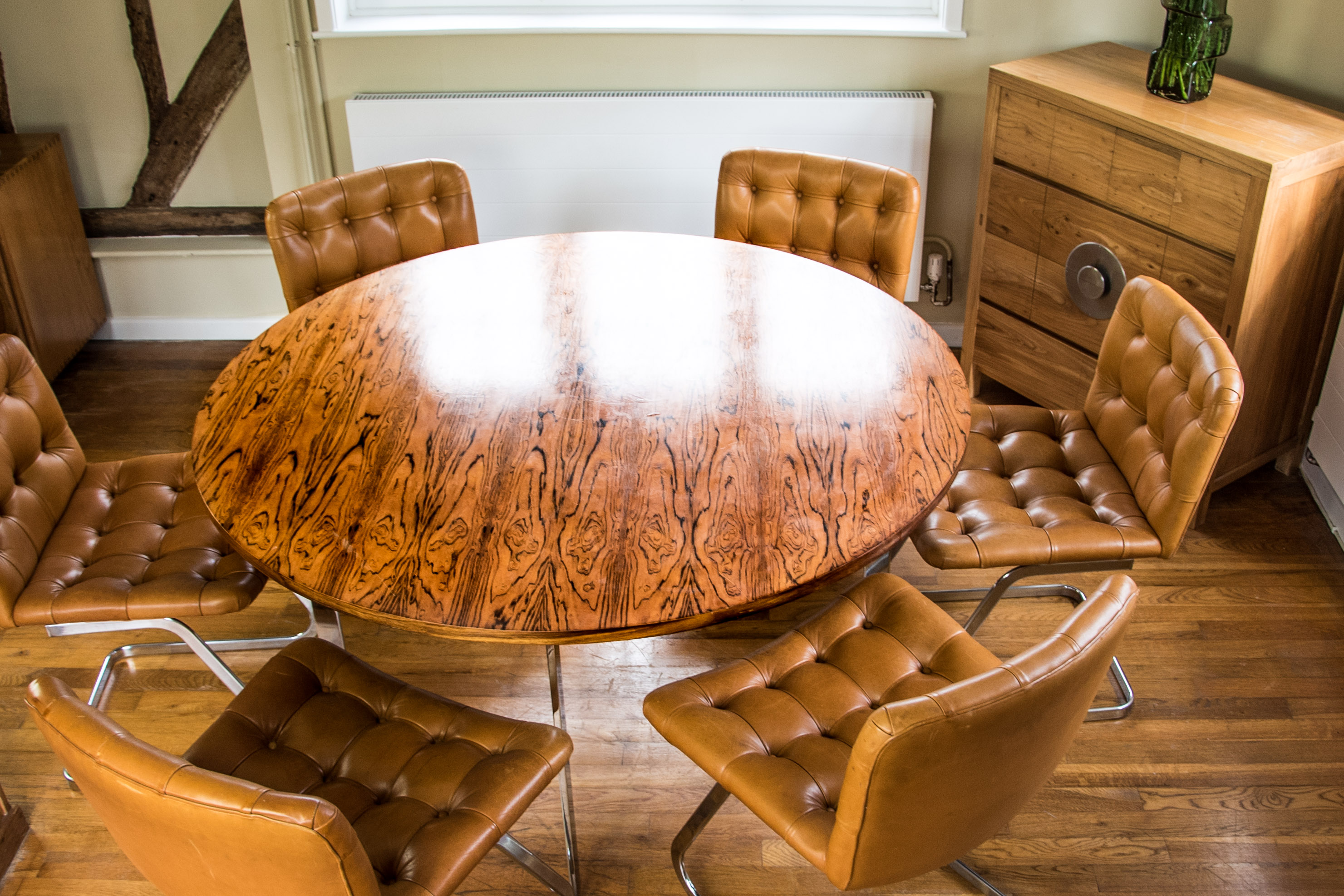 Italian Tan Leather Dining Chairs at table 3