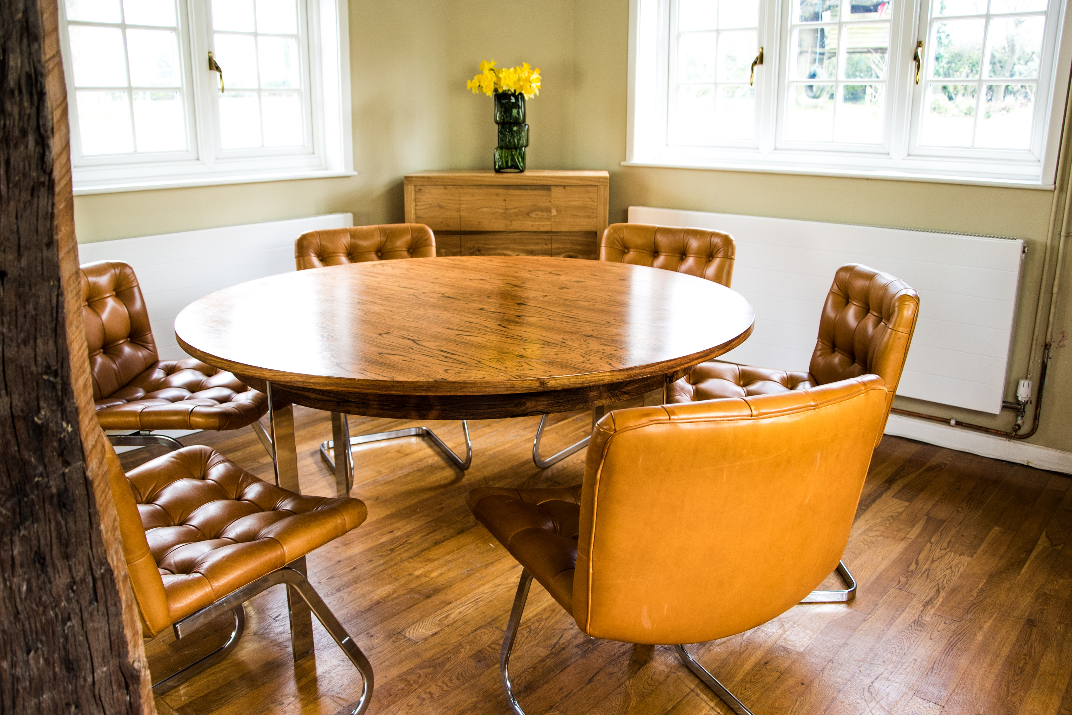 Italian Tan Leather Dining Chairs at table 2
