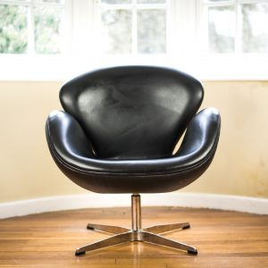 Black Leather Swan Chair after Arne Jacobsen front 1