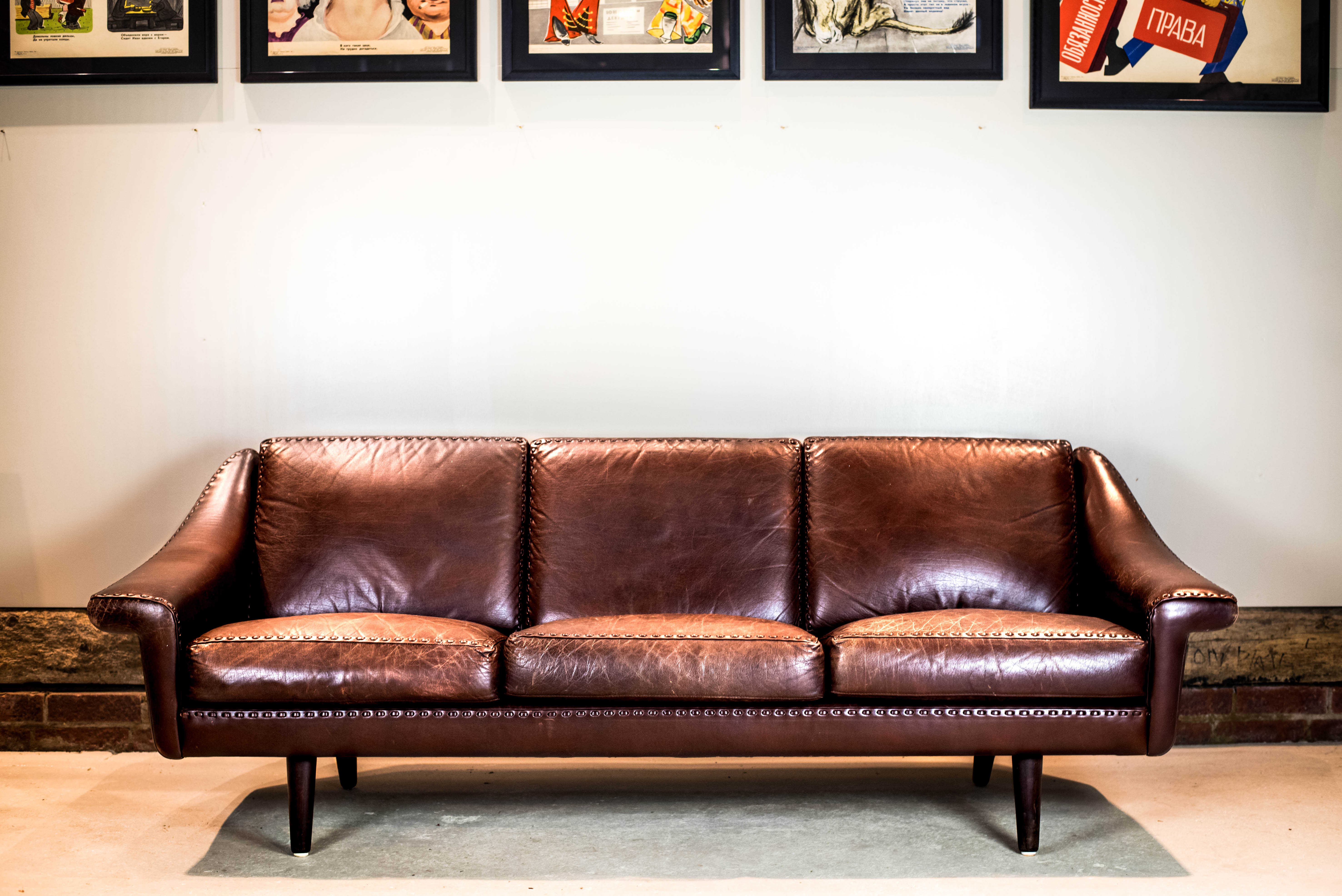 Danish Brown Leather Couch 9
