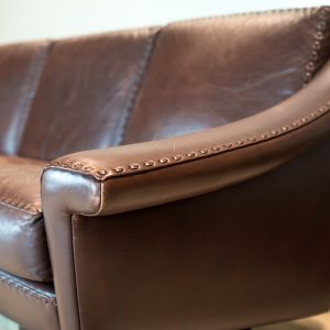 Danish Brown Leather Couch 1