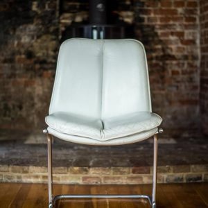 Pair of Pieff Eleganza White Leather Dining Chairs front