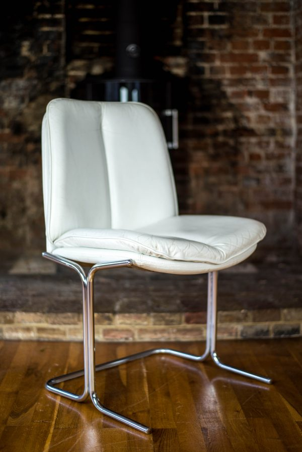 Pair of Pieff Eleganza White Leather Dining Chairs front side
