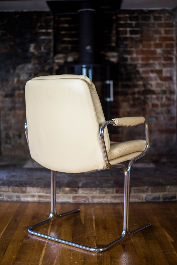 Pair of Pieff Eleganza Cream Leather Carver Dining Chairs 2