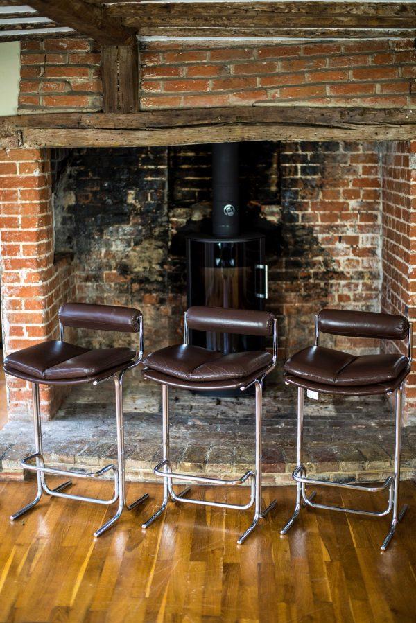 Pieff Eleganza Brown Leather Bar Stools 4