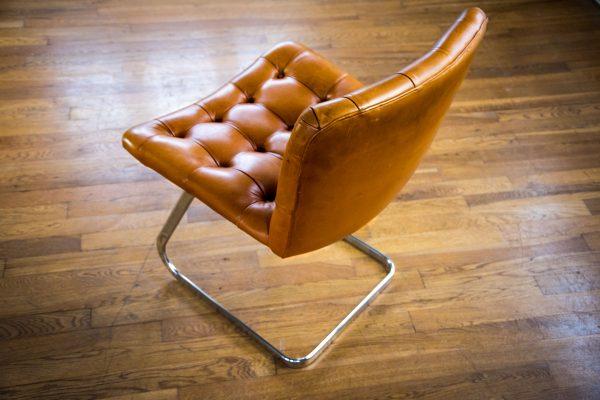Italian Tan Leather Dining Chairs top