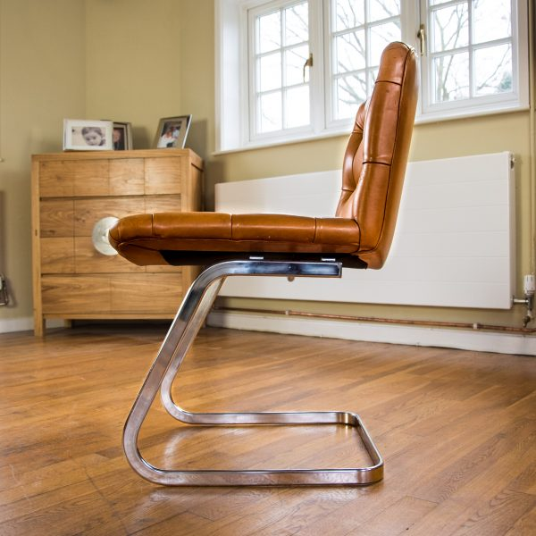 Italian Tan Leather Dining Chairs side 2