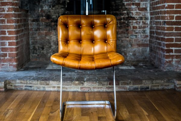 Italian Tan Leather Dining Chairs front 1