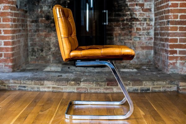 Italian Tan Leather Dining Chairs side full