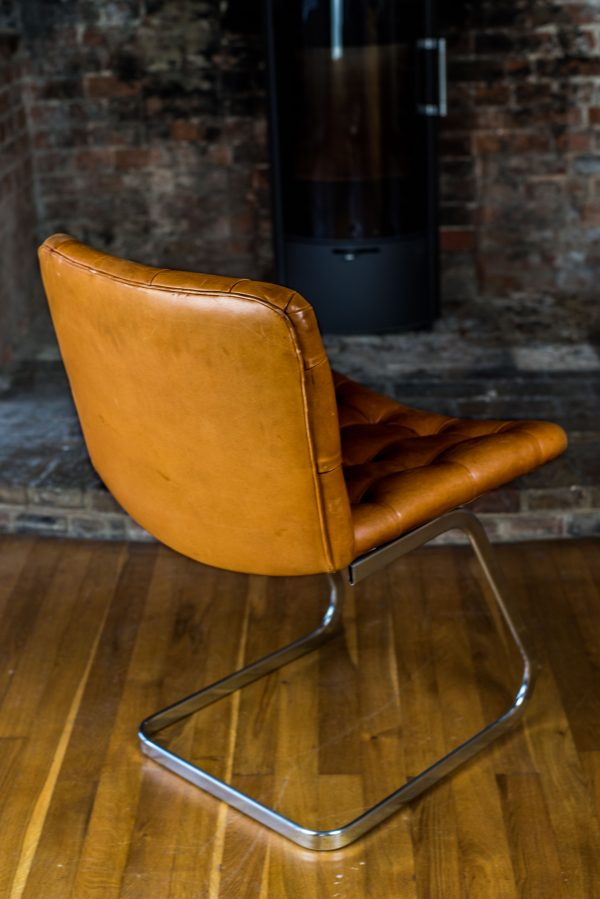 Italian Tan Leather Dining Chairs rear side