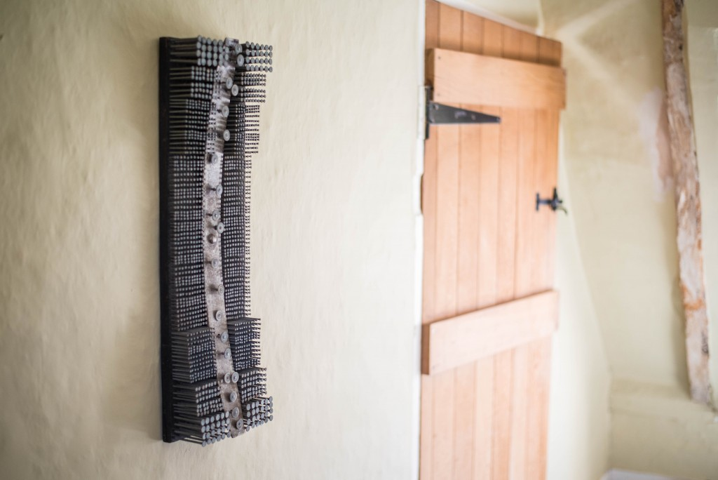 Nail Wall Sculpture 'Car Spring' by David Gerry Partridge front side 4