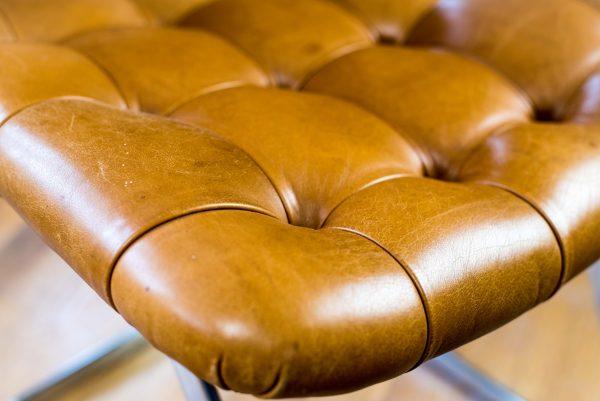 Italian Tan Leather Dining Chairs seat