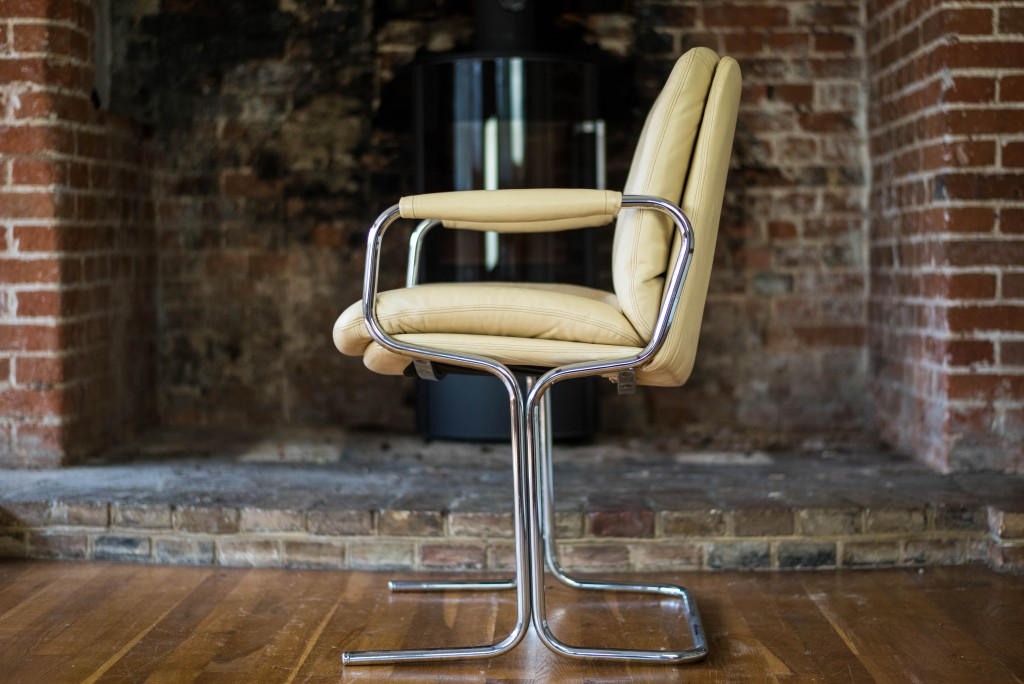 Pieff Chairs: Pieff Cream Leather Carver Dining Chairs 10