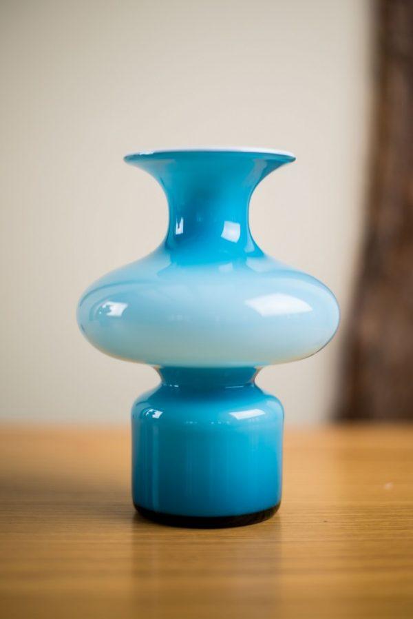 Holmegaard Cased Blue Bulge Glass Vase Carnaby Range Per Lutken 9