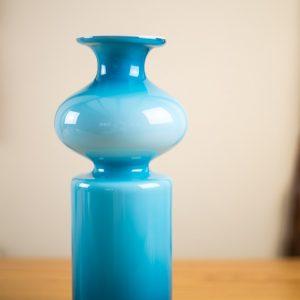 Holmegaard Cased Blue Bulge Glass Vase Carnaby Range Per Lutken 3