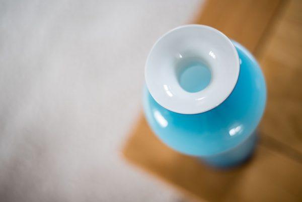 Holmegaard Cased Blue Bulge Glass Vase Carnaby Range Per Lutken 1