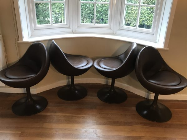 60s Scandanavian Furniture: Börje Johanson Venus Chairs in Simulated Brown Leather